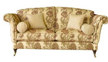 Dickens Knole 2 seater in cream and green damask