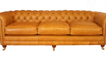 Headley Chesterfield large 3 seater sofa in whiskey leather