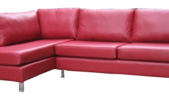 Huxley corner chaise in red leather