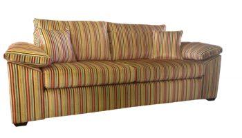 Joyce 3 seat sofa in multi colour cut velvet stripe