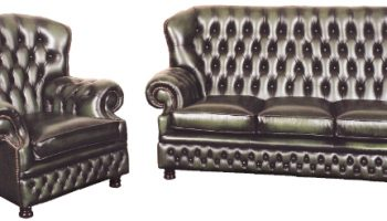 Larwood Chesterfield 3 seater and chair in green antique rub off leather