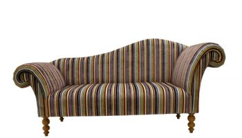 Regency Double ended chaise longue in multi stripe cut velvet