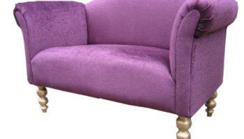 Regency small chaise sofa in purple velvet