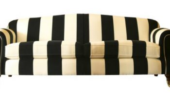 Sheldon 3 seater sofa in black & white thick stripe