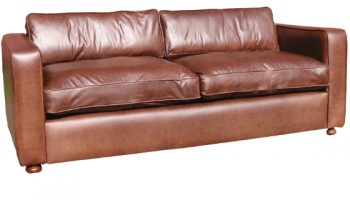 Steinbeck 3 seater sofa in natural dark brown leather