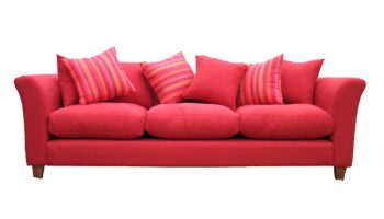 Twain 4 seater sofa with scatter back cushions in red linen