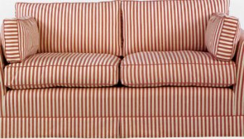Verne sofa in red and cream stripe