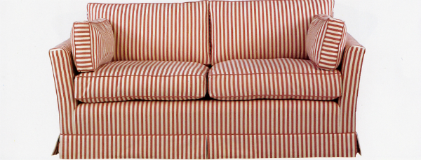 Verne sofa in red and cream stripe - The Handmade Sofa Company