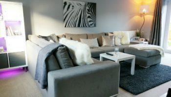 Chandler corner sofa in grey chenille with chrome feet2
