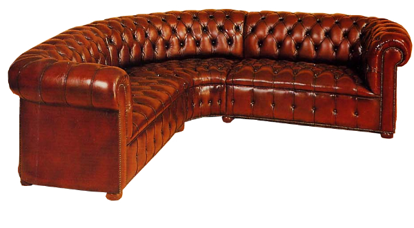 Cowdrey curved corner sofa in antique red rub-off leather - The ...